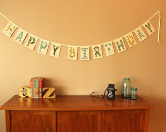 Fabric Birthday Banner in Greens, Yellows, Grays  // READY TO SHIP