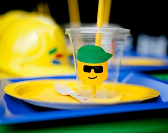 10 Lego Inspired Cups with Lids and Straws, Bricks and Bolts Cups, Lego Birthday, Lego Cups Birthday