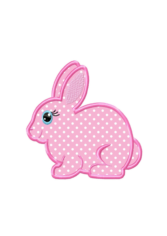 Girl bunny applique machine embroidery design no