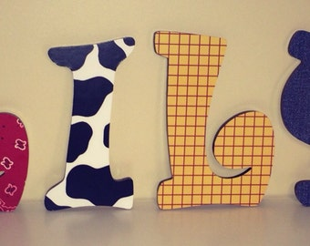 Custom Decorated Wooden Letters - Toy Story Theme