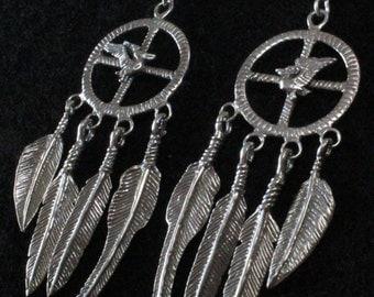 Native American Medicine Wheel with Pelican - Sterling Silver Dangle Earrings