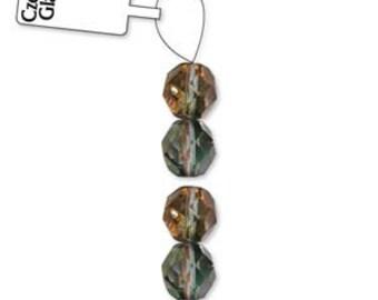Czech Glass 8mm Facet Round Strand - 19 Beads - Amethyst/Aurum