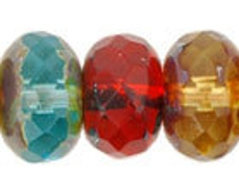 Czech Glass 9x6mm Fire Polish Rondelles - 25 Multi Beads
