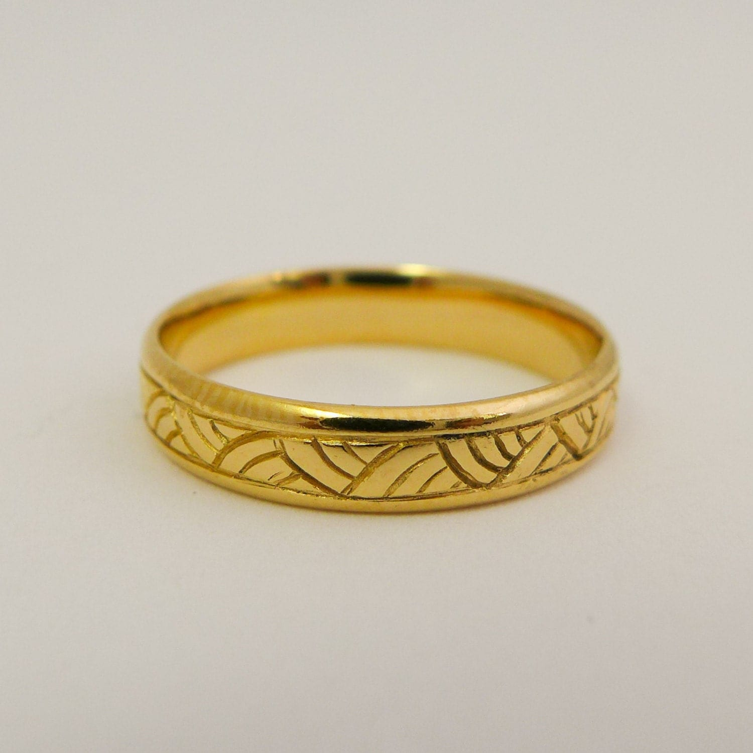 Yellow gold wedding ring 14 karat solid gold wedding band for