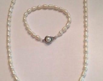 Freshwater Pearl Necklace Bracelet Set Costume Jewelry