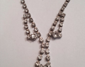 Vintage Rhinestone Choker Necklace Costume Jewelry