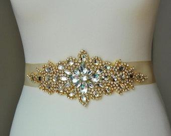 Luxury Gold Crystal Bridal Sash,Wedding Dress Sash Belt,  Rhinestone Sash,  Rhinestone Bridal Bridesmaid Sash Belt, Wedding dress sash