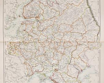 Huge 1897 Blacks Antique Folding Colour Map, Russia in Europe, Ukraine, Crimea, Black Sea, Caspian Sea