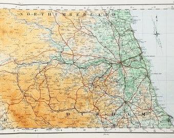 Map vintage etsy uk 1922 antique map of northern england northumberland cumberland durham scottish borders gumiabroncs Images