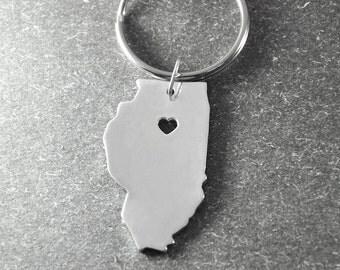 Free shipping - I heart  Illinois  keyring - Custom state key chain - state keychain in handmade - Key holder