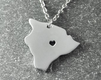 Free shipping - I  heart Hawaii  Necklace - Hawaii  Pendant - State Necklace - State Charm - Map necklace - Map Jewelry