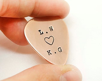 Personalized Guitar Pick, Customized, Hand stamped Copper Guitar Pick  Personalized Gift - Boyfriend Gift, Gift for Husband, Dad - Christmas