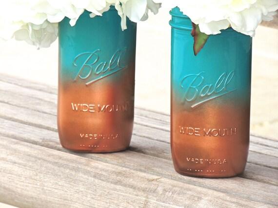 Turquoise mason jarombre painted teal and coper mason jars