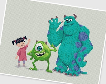 PDF Cross Stitch pattern - Monsters Inc - INSTANT DOWNLOAD
