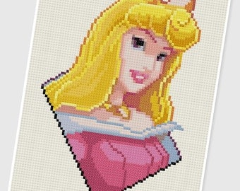 PDF Cross Stitch pattern - 0210.Princess Aurora ( Sleeping Beauty ) - INSTANT DOWNLOAD