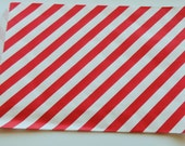 "6.25"" x 9.25""  Paper Merchandise Bags Red  Diagonal Stripes on White Kraft  (20)"