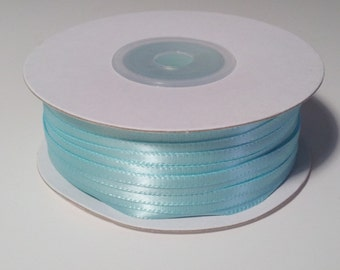 "1/8"" Aqua Double Face Satin Ribbon - 100 Yards"