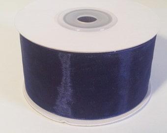 Sheer Organza Ribbon - Navy - 25 Yards