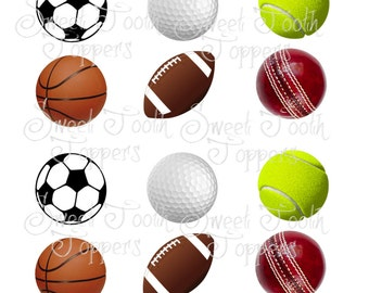 Sports balls set of 12 cupcake toppers