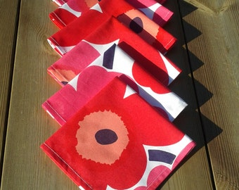 Cloth napkins made from Marimekko fabric Unikko , modern table decor,  table or picnic napkins, floral,  set of 6