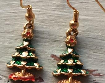 Christmas Tree Earrings, Christmas Earrings