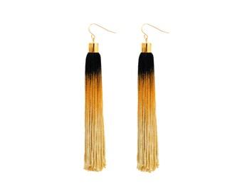 Boho Statement Earrings, Ombre Tassel Earrings, Fringe Earrings, Black and Gold earrings