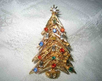 Vintage Rhinestone Christmas Tree Brooch Signed ART