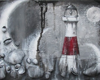 Original Lighthouse Painting - Textured Landscape Painting, Acrylic on Canvas