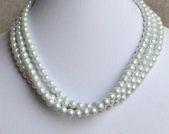 wedding  pearl necklace,3-rows pearl necklaces,wedding necklace,bridesmaids necklace, glass pearls necklaces, white pearl necklace,necklace
