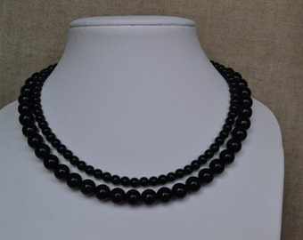 black pearl necklace,2 strands pearl necklaces,,  glass pearls necklaces,wedding pearl necklace,bridesmaids necklace,  pearl necklace