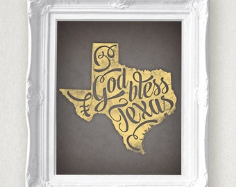 God Bless Texas State Print 8 x 10