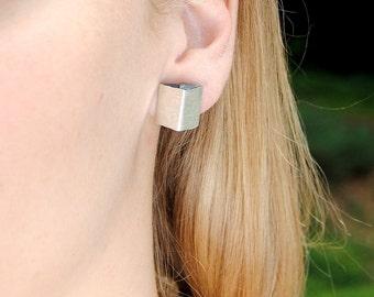 Silver Dust Triangle post silver earring