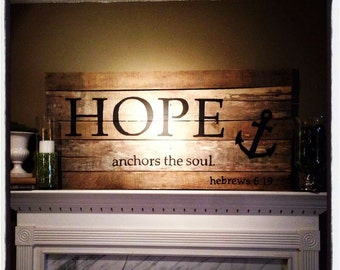 Hope anchors the soul. Hebrews 6:19 pallet art in black. With optional personalization.