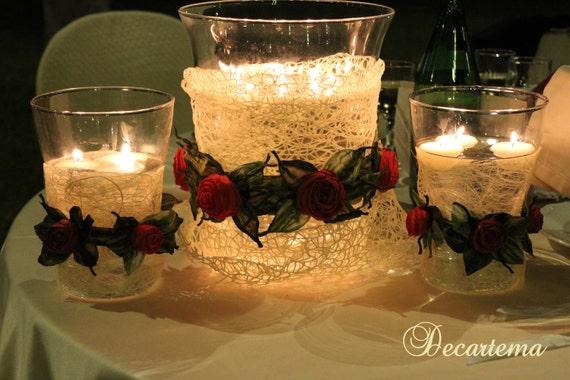 Articoli simili a centrotavola vaso con candele galleggianti per matrimonio con decorazioni - Centro tavola con candele ...