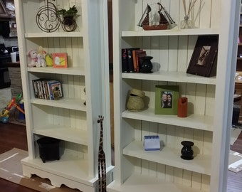 Solid wood Bookshelf with a Beachy Distressed Finish / Storage Unit