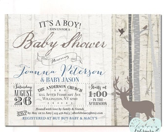 woodland baby shower invitation floral deer baby shower, Baby shower invitations