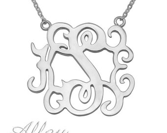 Wholesale  3 letters  alloy  Monogram Necklace  Personalized Monogrammed Nameplate Necklace  Letter Jewelry  monogram pendant