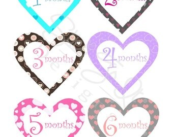 Monthly Stickers, Milestone Stickers, Baby Month Stickers, , Monthly Baby Sticker, Baby Shower Gifts, Baby Month Sticker Girl, Hearts, G24