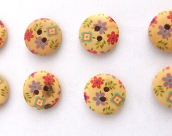 sewing buttons wood flower pattern qty 8 painted design