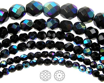 10mm (41pcs) Jet AB coated, Czech Fire Polished Round Faceted Glass Beads, 16 inch strand
