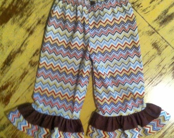 Baby/Toddler/Girls Fall ruffle pants/chevron/floral/ric rack