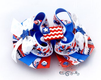 Red White and Blue Bow, Flag Bow, Flag Hair Bow, Patriotic Bow, Patriotic Hair Bow, Fourth Of July Bow, 4th of July Bow, Over the Top Bow