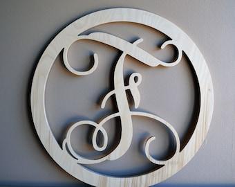 Wooden Monogram, Wall Hanging, Various Size Listing, Round Border Single Monogram, Wooden Intial, Door Hanger, Wreath, Large Wooden Monogram