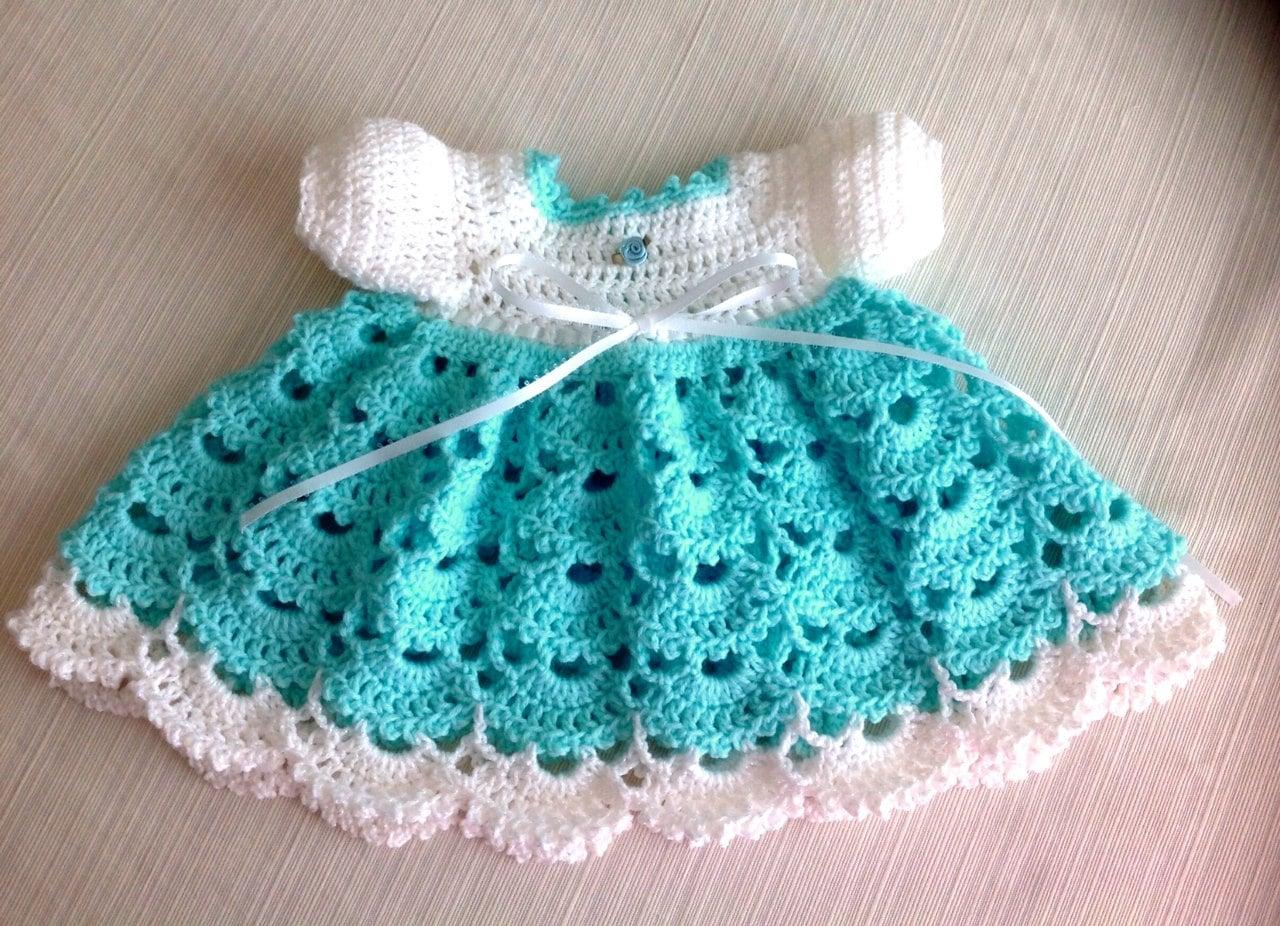 Crochet Baby Outfit Patterns : Newborn Crochet Baby Dress JANICE PATTERN