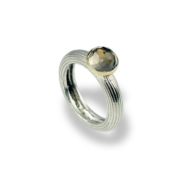 Alternative Silver Wedding Gifts : Silver-Wedding Band-For Women- Smokey Quartz Gemston-Alternative ...