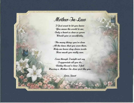 Daughter Son In Law Personalized Poem Christmas Gift: Items Similar To Personalized Poem For Mother In Law