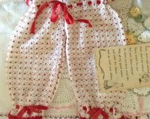 Vintage, 1960's, Bloomers, Dishcloth, Retro Red & White, Cute Kitchen Decor, Unique Shower Gift with Original Poem Card