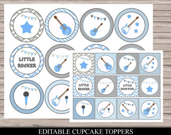 Little Rock Star Cupcake toppers, Instant download, light blue and gray, circles, printable party, rocker, guitar, 2.5 inches, DIY