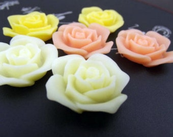 6pcs Resin flower cabochon for Pendant Charm Craft Jewelry.