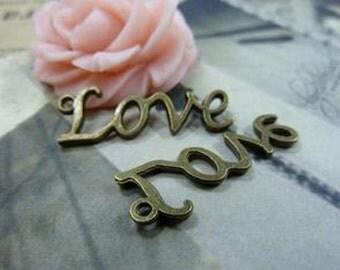 "30pcs 11x30mm Antique Bronze Lovely Filigree Letter ""Love "" Charms Pendant c1601-36"